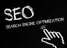Search engine optimization. Written on black or chalkboard with pointing cursor hand vector illustration