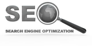 Search Engine Optimization. With magnifying glass and globe Stock Images