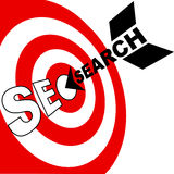 Search engine optimization arrow hits SEO target Stock Photos