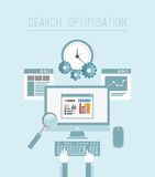 Search engine optimization  in blue Royalty Free Stock Photography