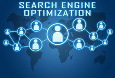 Search Engine Optimization. Concept on blue background with world map and social icons Stock Images