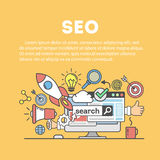 Search engine optimization. Search engine optimization concept. Social network and media communication stock illustration