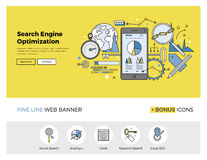 Search engine optimization flat line banner. Flat line design of web banner template with outline icons of search engine optimization service, SEO data analytics Stock Photo
