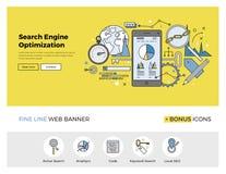 Search engine optimization flat line banner royalty free illustration