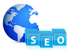 Search engine optimization globe illustration Stock Photo