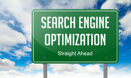Search Engine Optimization on Highway Signpost. Royalty Free Stock Photography