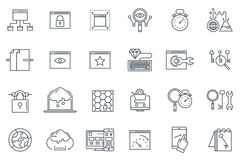 Search engine optimization icon. Set suitable for info graphics, websites and print media. Black and white flat line icons stock illustration