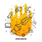 Search engine optimization illustration. Vector outline flat background Stock Images
