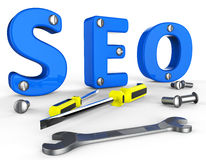 Search Engine Optimization Indicates Gathering Data And Information Royalty Free Stock Image