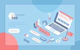 Free Search Engine Optimization, Keyword Research. Search Engine Results Page On The Laptop Screen. Isometric Vector Illustration For P Stock Photos - 215860043