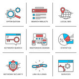 Search engine optimization line icons set. Flat line icons set of website search engine optimization, seo analytics, network security, keyword management Royalty Free Stock Photo