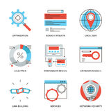 Search engine optimization line icons set. Thin line icons of website search engine optimization, seo analytics stats, network security, webpage traffic Stock Photography
