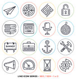 Search engine optimization line icons set Royalty Free Stock Photos