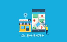 Local seo optimization, search optimization for local business, user searching local shop on mobile. Flat design vector banner. Search engine optimization for royalty free illustration
