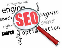 Search Engine Optimization - Magnifying Glass Royalty Free Stock Photo