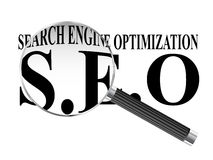 Search Engine Optimization Magnifying Glass Stock Images