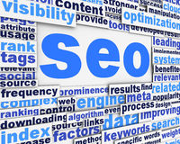 Search engine optimization poster. Conceptaul design. Marketing strategy concept Royalty Free Stock Photos