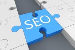 Search Engine Optimization. Puzzle 3d render illustration Stock Photo