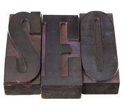 Search engine optimization SEO. SEO (search engine optimization ) acronym - word in antique letterpress printing blocks, stained by color inks, isolated on white stock photo