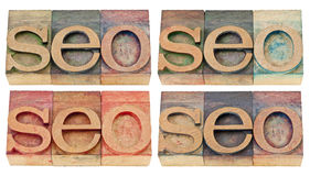 Search engine optimization - seo abstract. Seo abstract (search engine optimization) - isolated text in vintage letterpress wood type, four versions royalty free stock photos