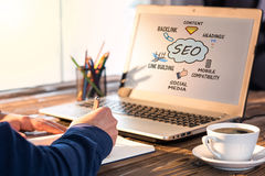 Search Engine Optimization & x28;SEO& x29; Concept. On Computer Screen Stock Images