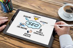 Search Engine Optimization SEO Concept On Digital Tablet royalty free stock images