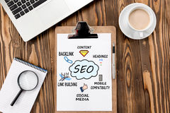 Search Engine Optimization & x28;SEO& x29; Concept On Work Desk. Search Engine Optimization & x28;SEO& x29; Concept On Work Desk, With Magnifier And Royalty Free Stock Image
