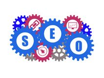 Search Engine Optimization SEO. Search Engine Optimization icon who can be used to any site or blog who create a SEO article Royalty Free Stock Images