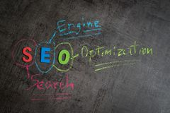 Search engine optimization, SEO ranking concept as colorful alph. Abet SEO, hand write explanation with color chalk on chalkboard wall, important of keyword Royalty Free Stock Photos