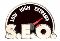 Search Engine Optimization SEO Speedometer Royalty Free Stock Photos