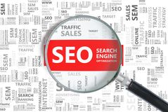 Search Engine Optimization. SEO word in tag cloud zoomed in. Stock Image