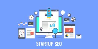 Search engine optimization for startup business. Flat design startup banner. Concept of startup seo, rocket launching from a webpage. Startup promotion strategy vector illustration