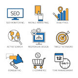 Search engine optimization technology outline. Icons set, user web search experience. SEO monitoring, mobile marketing, analytics, active search, responsive vector illustration