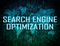 Search Engine Optimization. Text concept on green digital world map background Stock Photography