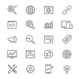 Search engine optimization thin icons Stock Image