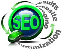 Search engine optimization web - SEO. Illustration with mouse and written SEO, optimization, results, website, engine Stock Photo