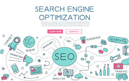 Search engine optimization for website banner and landing page Royalty Free Stock Photo