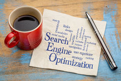 Search engine optimization word cloud. Handwriting on a napkin with a cup of espresso coffee Royalty Free Stock Photo