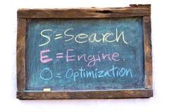 SEARCH ENGINE OPTIMIZATION write white chalk on a blackboard Royalty Free Stock Photo