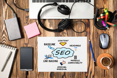 Search Engine Optimization & x28;SEO& x29; Concept On Work Desk Royalty Free Stock Images