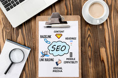 Search Engine Optimization & x28;SEO& x29; Concept On Work Desk Stock Photography