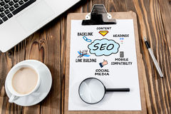 Search Engine Optimization & x28;SEO& x29; Concept On Work Desk Stock Image