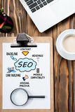 Search Engine Optimization & x28;SEO& x29; Concept On Work Desk Royalty Free Stock Photos