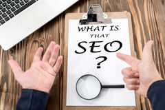 Search Engine Optimization & x28;SEO& x29; Concept On Work Desk Royalty Free Stock Photography