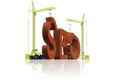 Search engine optimizing seo. Under construction building Stock Photography
