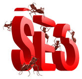 Search engine optimizing seo. Search engine optimization seo red word build by ants isolated on white background royalty free illustration