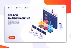 Search engine rank isometric landing page. Seo marketing and analytics, online ranking result. 4ir 3d vector concept. Illustration of seo optimization vector illustration
