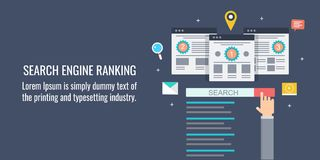 Search engine ranking, Seo, optimization, SERP, seo ranking, website, search concept. Flat design vector banner. Modern concept of search engine ranking Stock Image