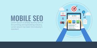 Mobile seo - search engine optimization for digital devices. Flat design seo banner. stock illustration
