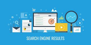Search engine result displaying on a computer screen, Serp, search engine ranking concept. Flat design vector banner. Search engine result page, seo, website Royalty Free Stock Photography